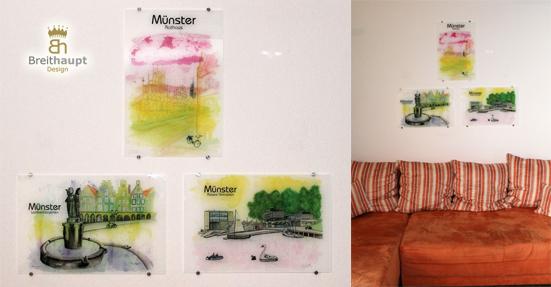 Hochwertige Münster-Aquarelle auf Acryl gedruckt