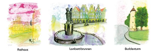 Motive: Münster Rathaus - Lambertibrunnen - Buddenturm