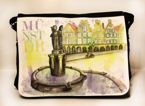 Münster-Collegetasche-Lambertibrunnen