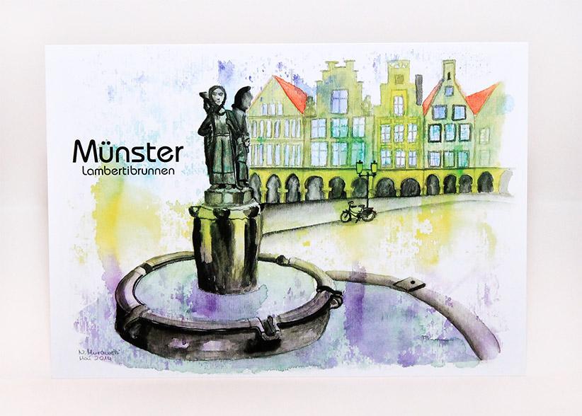 Münster PosterLambertibrunnen
