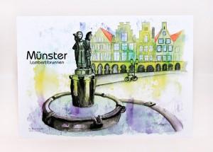 Münster-Postkarte-Lambertibrunnen