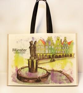 Münster Shoppingbag Lambertibrunnen