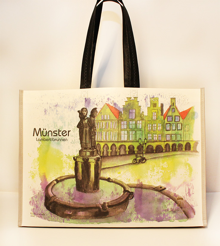 Münster Shoppingbag Lambertibrunnen