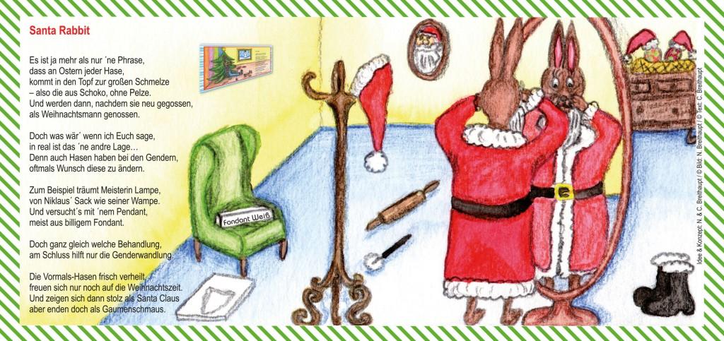 Weihnachtskarte Santa Rabbit